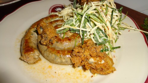 Pork Sausage with Celery Root Slaw and Smoked Oysters (5/10).