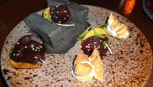 Black Sesame Kulfi with Chocolate covered Potato Chips and Brûléed Meringue (6.5/10).