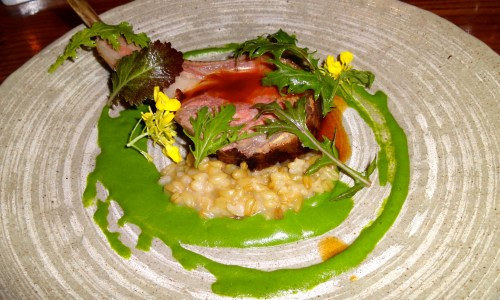 Lamb Chop with Date, Mustard Greens, Farro, Blood Orange, Olive, and Garum (8.5/10).
