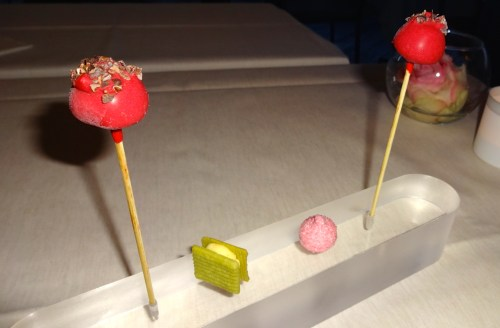 Petit Fours: Chocolate Lollipops with Beetroot Sorbet (7/10), Green Tea Sablé (7/10), and Strawberry Marshmallow (6/10).