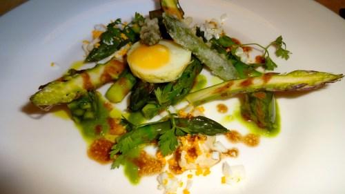 Seasonal Raw and Tempura Fried Asparagus with Quail Egg (7/10).
