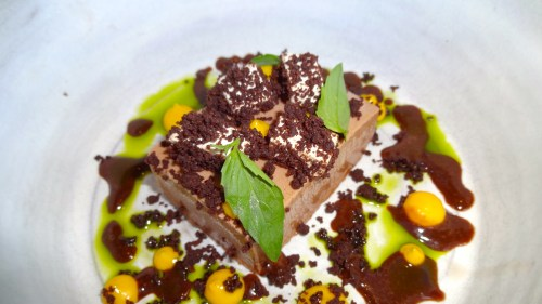 Frozen Chocolate, Kumquat, Cocoa Nib, and Basil (8/10).