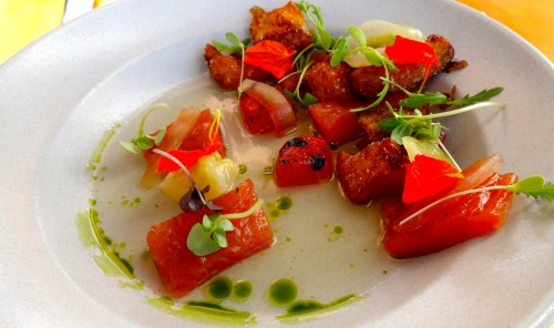 Lightly Cured Trout, Crispy Potatoes, and Melon Gazpacho (8.5/10).