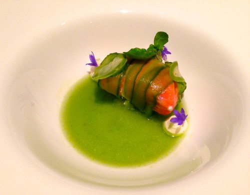 Persian Cucumber wrapped King Salmon with Cucumber Dashi, Crème Fraîche, and Purslane.