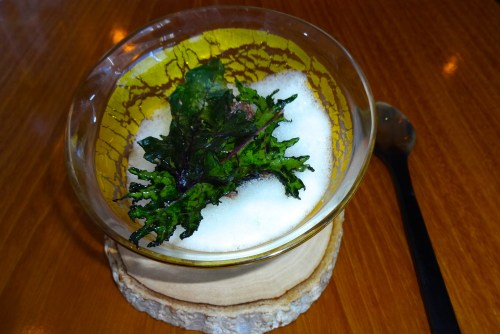 Trout flavored with Vadouvan with Trout Roe, Corn Pudding, and Kale (9/10).