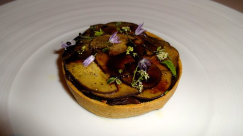Garden Menu: Wild Mushroom Tart with Spring Onion, Artichoke, Nepitella, Balsamic Vinegar (8/10).