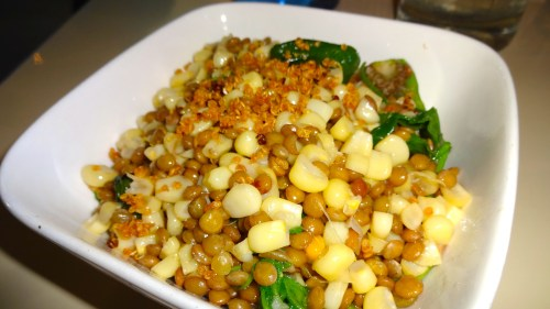 Sweet White Corn and Lentil Salad with Padrone Peppers, Arugula, and Toasted Quinoa (7/10).