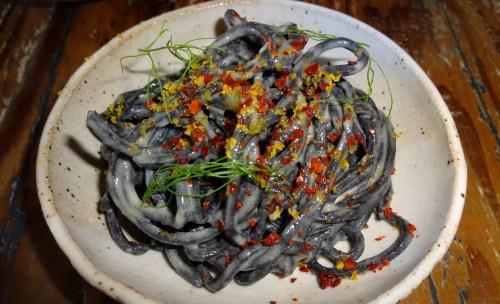 Chilled Squid Ink Noodles with Cortez Bottarga, Fennel, and Lemon Oil (8.5/10).