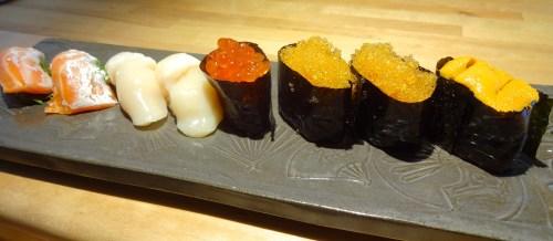 Umi Masu/Ocean Trout Nigiri (8/10), Hotate/Scallop Nigiri (8/10), Ikura/Salmon Roe Nigiri (8/10), Tobiko/Flying Fish Roe Nigiri (8/10), and Uni/Sea Urchin Nigiri (7/10).
