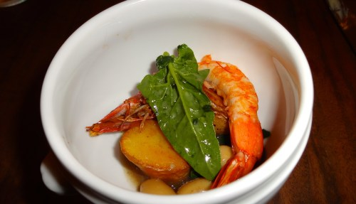 Grilled Prawns with Braised Butter Beans (7/10).