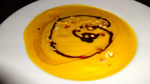 Roasted Butternut Squash Soup with Brown Butter, Balsamic Reduction, and Toasted Hazelnuts (7/10).