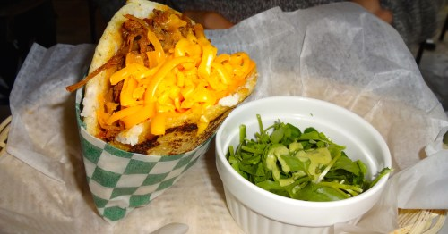 Beef and Cheese Arepa.