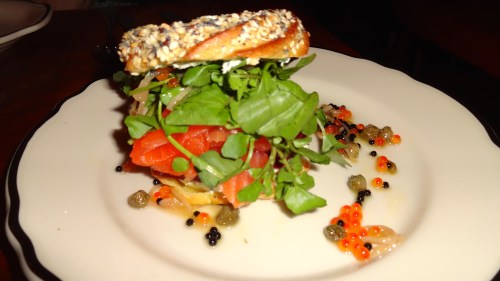 Canadian Style Bagel with Gravlax and Salmon Roe (8.5/10).