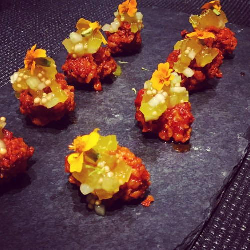 Hot and Spicy Fried Sweetbreads with Watermelon Rind and Pickled Mustard Seed Relish.