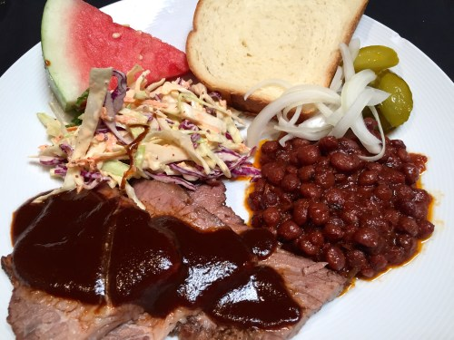 BBQ Brisket with Beans and Coleslaw.