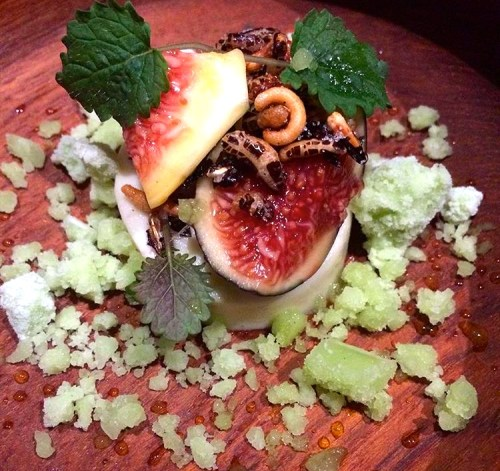 Brown Rice Panna Cotta with Figs, Puffed Rice, Fig Leaf Ice, and Lemon Balm.