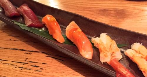 Maguro/Blue Fin Tuna Nigiri with Jalapeño (8/10), Sake/Salmon Nigiri with Yuzu (8.5-9/10), and Amaebi/Sweet Shrimp Nigiri (9/10).