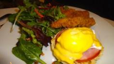 Eggs Benedict and Chicken Tenders.