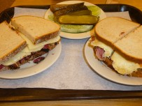 Pastrami (Left) and Corned Beef (Right).