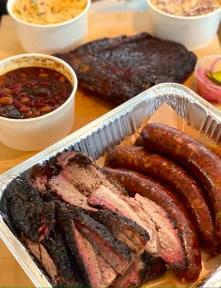 Brisket, Pork Hot Links, Squareribs, Pit Beans, Granny's Potatoes, and Coleslaw.