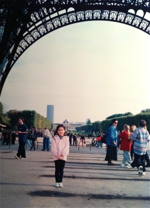 Mini Me at the Eiffel Tower.