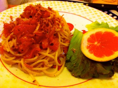 Spaghetti with Bottarga and Tomatoes.