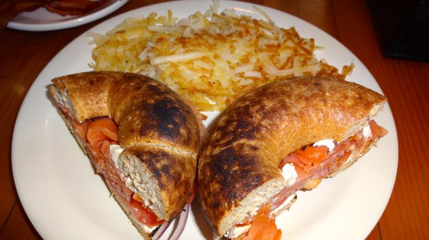 Bagel with Lox and Cream Cheese with Hash Browns.