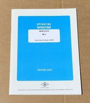 Universal Audio LA-610 MK II Operation Manual