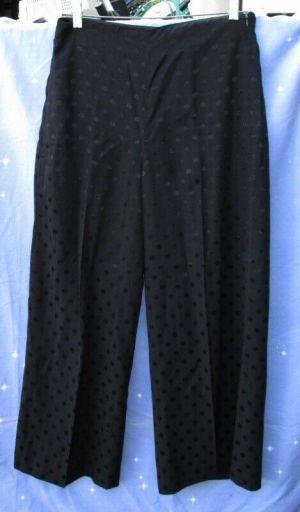 Zara Woman's Pants Trousers Black on Black Polka Dots Size Small Inseam 26