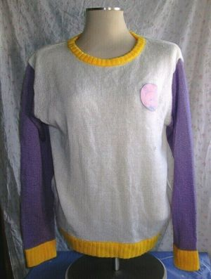 Milklim Long Sleeve Crew Neck Sweater White Purple Yellow One Size Fits All