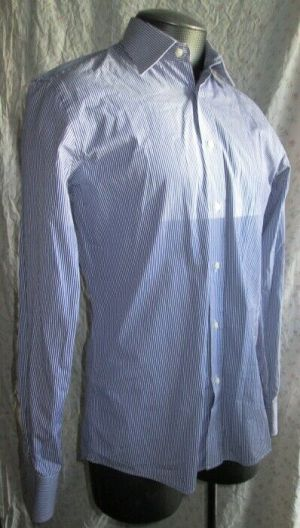 Alara Long Sleeve Button Up Casual Dress Shirt Blue and White Size 15.5 34/35
