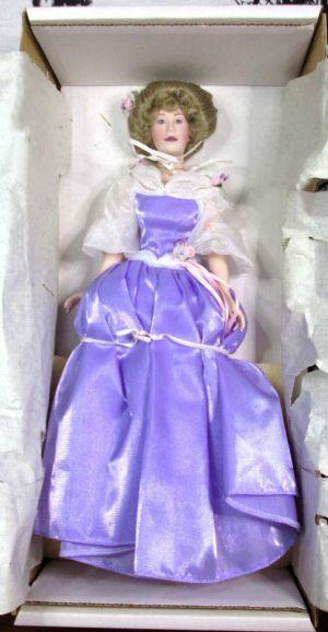 "Franklin Heirloom 14"" Porcelain Doll with Victorian Purple Dress"