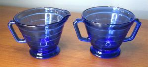 Hazel Atlas Cobalt Blue Sugar Creamer Dish Salt Pepper Shaker Depression Glass