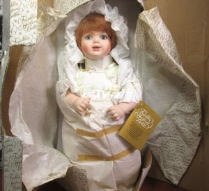 "Franklin Hierloom Orange Hair Christening Gown 16"" Doll w/ Original Box and Tag"