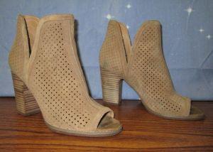 Lucky Brand Womens Heels Open Toe Booties Boots Beige Khaki Suede 8.5/US 38.5/EU