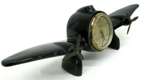 Vintage Sarsaparilla Propeller Black Metal Airplane Desk Clock