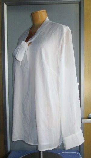ACEVOGS Shirts Blouse Top Long Sleeve Semi-Sheer Neck Tie White XL