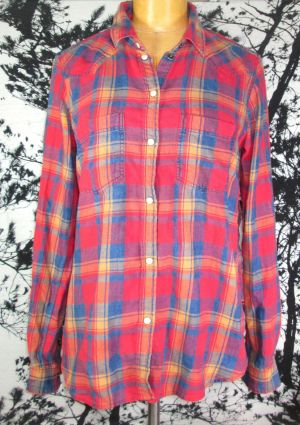 American Eagle Outfitters Boyfriend Fit Orange Button Up Flannel Shirt Size XS