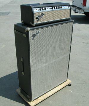 "1968 Fender BANDMASTER AB763 Silverface Amp Head w/ 2x 15"" Speaker Cab Enclosure"