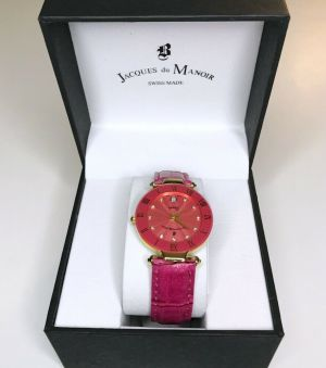 JAQUES DU MANOIR RC101 PINK SUNRAY DIAL LADIES WATCH PINK BAND SWISS MADE