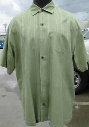 Tommy Bahama Casual Button Up Shirt Short Sleeve Green Striped XL 100% Silk