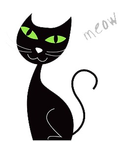 Black Cat Saying Meow