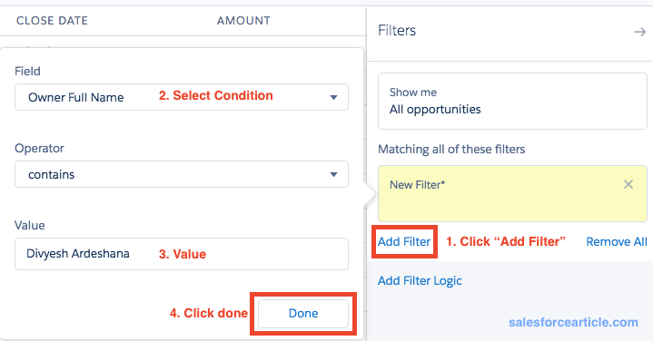 Condition Filter List View