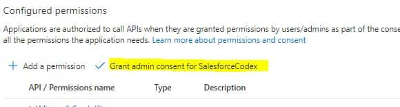 API Permission in Azure - SalesforceCodex