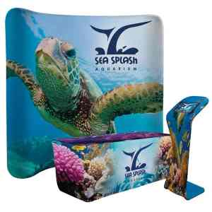 Booth display with dramatic graphics