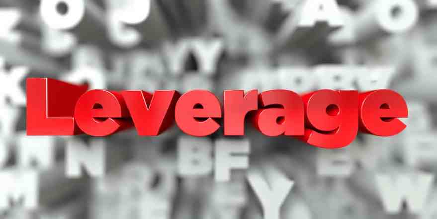 Leverage - Red text on typography background - 3D rendered royalty free stock image. This image can be used for an online website banner ad or a print postcard.