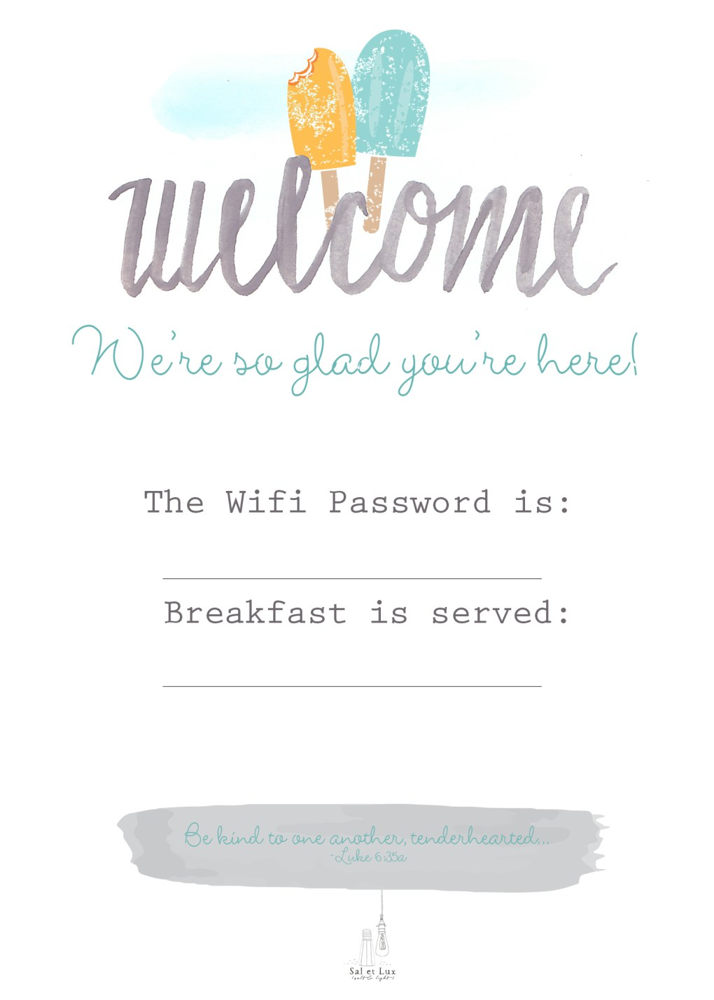 Guest Basket Welcome Printable