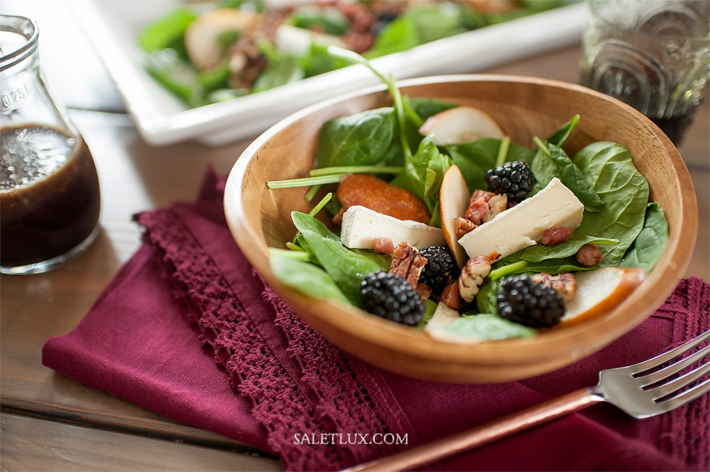 Blackberry Brie Spinach Salad