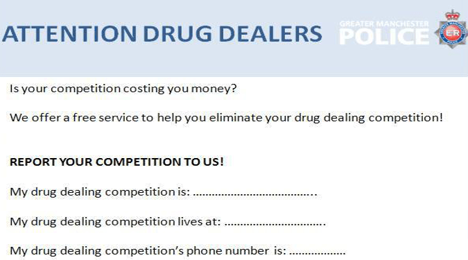 Salford police try cheeky 'competition' post to shop drug dealers