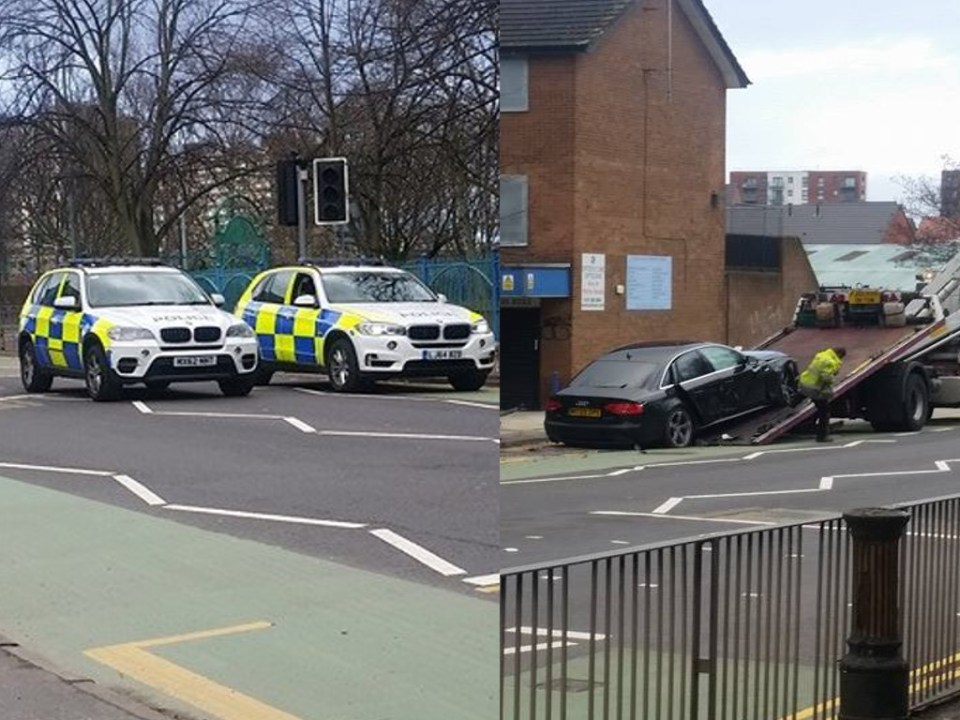 Four wanted after Audi crash Great Clowes St Lower Broughton composite4